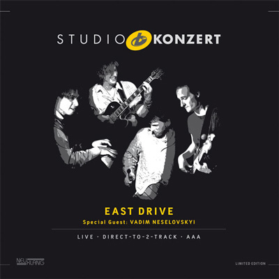 LP-Cover / East Drives Album Studio Konzert live in den Bauer Studios, VÖ 2013 bei Neuklang.